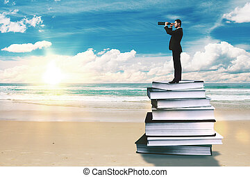 Education and research concept - Businessman with binoculars...