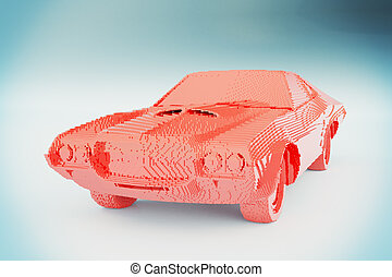 Red constructor car on light grey background. 3D Rendering