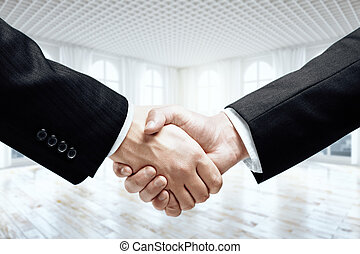 Businesspeople shaking hands - Closeup of businesspeople...
