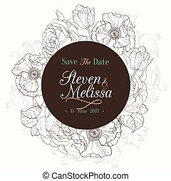 Vector Vintage Chocolate Brown Vintage Floral Drawing...