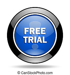 free trial blue glossy icon