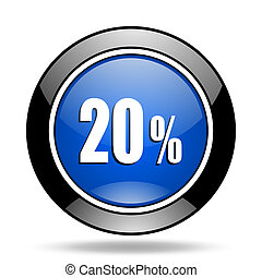 20 percent blue glossy icon