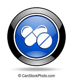 medicine blue glossy icon