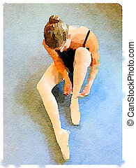DW ballerina putting on pointe shoes 1 - Digital watercolor...