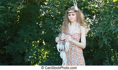 Beauty Portrait of Girl Holding Dreamctahcer
