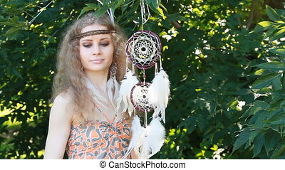 Beauty Portrait of Girl with Dreamctahcer Hanging Alongside...