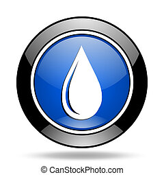 water drop blue glossy icon