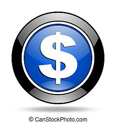 dollar blue glossy icon