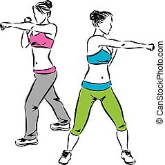women kick boxing exercises fitness illustration
