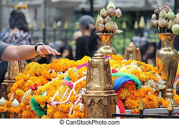 flower offering at a Hindu temple