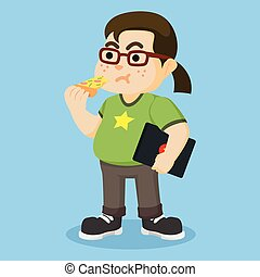 nerd eating pizza illustration design