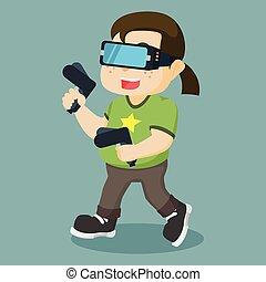 nerd playing virtual reality