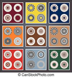 Set abstract pattern, created by the rotation of geometric body. Vector illustration