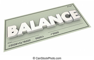Balance Money Check Bank Account Budget 3d Illustration