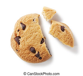 Chocolate chip cookie on white