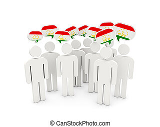 People with flag of tajikistan isolated on white. 3D...