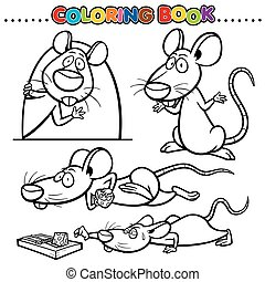 Rat - Cartoon Coloring Book - Rat