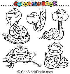 Snake - Cartoon Coloring Book - Snake