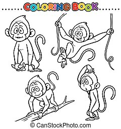 Monkey - Cartoon Coloring Book - Monkey