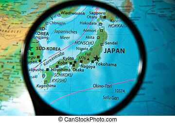 Japan considered on a globe through the lens