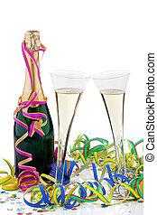 champagne, bottiglia, occhiali, celebrazione, carnevale