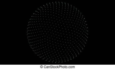 Retro 3D Vector Sphere Points - Point cloud of a sphere with...