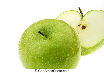 Green apple. Fruits for vitamins. - A green apple. Fruits...