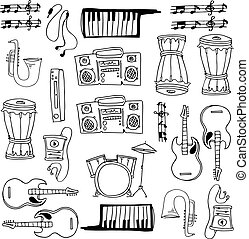 Hand draw music element doodles
