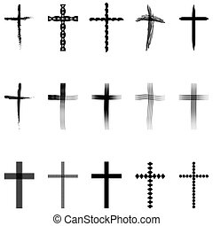Set crosses, Christian crosses collection, vector for print...