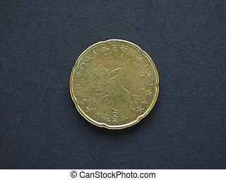 Euro (EUR) coin, currency of European Union (EU) - 20 cents...