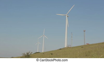 Wind generator on field in Crimea - Wind generator on the...