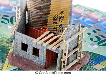 House construction site. Financed with Swiss francs. - A...