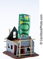 House construction site. Financed with ? banknotes - A shell...