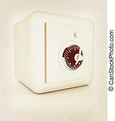 illustration of security concept with metal safe 3D...