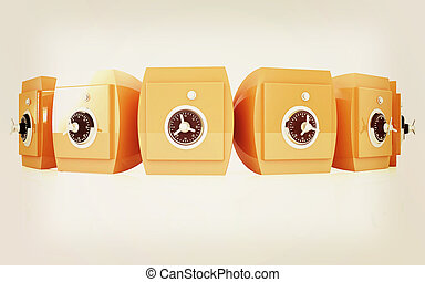 Several safes. 3D illustration. Vintage style.