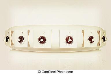 Several safes. 3D illustration. Vintage style.