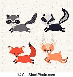 set animals woodland wildlife icon