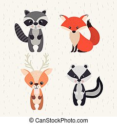 set animals woodland wildlife icon