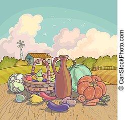 Harvesting autumn symbols fruits and vegetables, basket on...