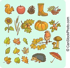 Autumn icon and objects set for design. - Fall symbols....