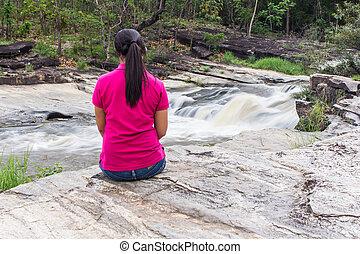 Thai woman at wang kauy waterfall doi inthanon national...