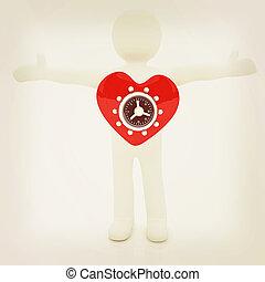 3d man - people with safe heart 3D illustration Vintage...