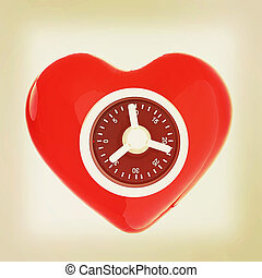 safe heart 3D illustration Vintage style
