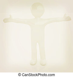 3D man happy man with wide open hands . 3D illustration....
