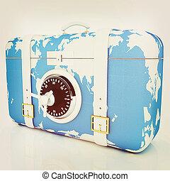 suitcase-safe for travel 3D illustration Vintage style