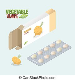 Turnip pills in pack. Vegetarian vitamins. Tablets fresh. Natural products for health in form of bulb. medicament vegetable. Medical drugs.