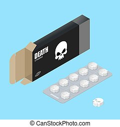 Death pills in pack Deadly vitamins in box medicament for...
