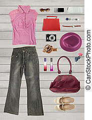 collection clothing for females or working women, placed on...