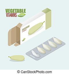Zucchini pills in pack Vegetarian vitamins Tablets box...