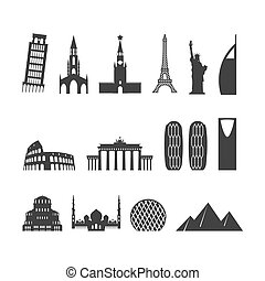 Landmark travel set. silhouette Architectural monuments. Known state of building. Eiffel Tower, and Moscow Kremlin. Leaning Tower and Statue of Liberty in USA. Egyptian pyramids and Roman Colosseum. mosque Abu Dhabi and Brandenburg Gate in Berlin. Berne Cathedral to Switzerland and Church Of St. Alexander Nevsky in Bulgaria